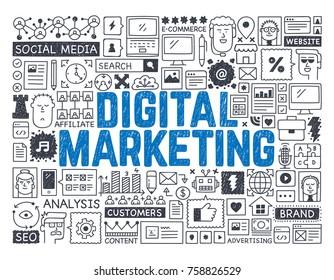 Digital Marketing - Hand drawn vector illustration
