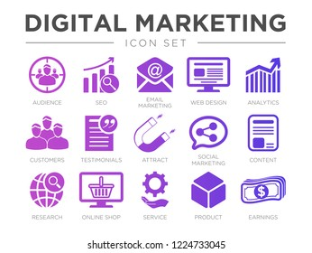Digital Marketing Icon Set. SEO, Email Marketing, Web Design, Analytics, Audience, Customers, Testimonials, Attract, Social Marketing, etc Icons.