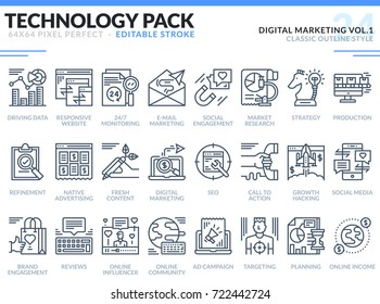 Digital Marketing Icons Set. Editable Stroke. Technology outline icons pack. Pixel perfect thin line vector icons for web design and website application.