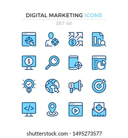 Digital marketing icons. Vector line icons set. Premium quality. Simple thin line design. Modern outline symbols collection, pictograms.