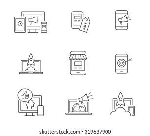 Digital marketing icons for websites, mobile apps, startups