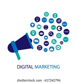 Digital marketing illustration with megaphone