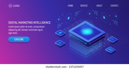 Digital marketing intelligence,  Artificial intelligence, Marketing automation, 3D, isometric vector background with icons and texts