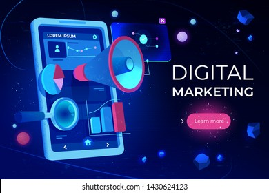 Digital marketing landing page, smartphone screen with megaphone or loudspeaker, data analysis charts and magnifying glass on futuristic neon glowing background. Cartoon vector illustration, banner