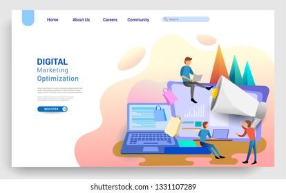 Digital marketing landing page template. Modern flat design concept of web page design for website and mobile website. Vector illustration