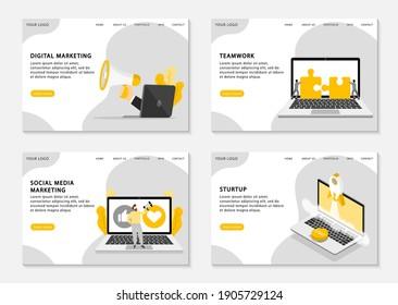 Digital marketing landing pages. Set of web page templates for digital marketing, social media marketing, teamwork and start up business. Vector illustration.