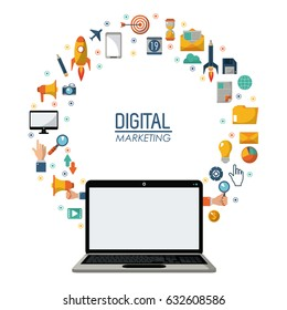 digital marketing laptop technology network online