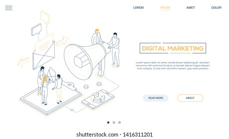 Digital marketing - line design style isometric web banner with copy space for text. Website header with male, female colleagues, business people discussing strategy, images of megaphone, smartphone