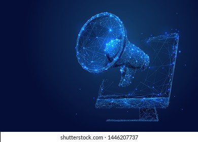 Digital marketing low poly wireframe illustration. Polygonal online notification, Internet targeted advertisement mesh art. 3D computer and megaphone with connected dots. Promotional campaign