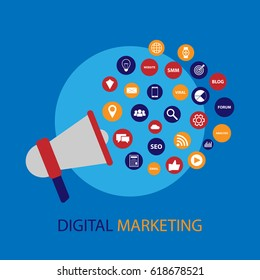 Digital marketing with megaphone illustration