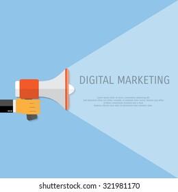 Digital marketing. Megaphone for website and promotion banners. Flat design.