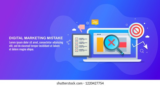 Digital marketing mistakes - Wrong marketing strategy flat vector illustration with icons and texts
