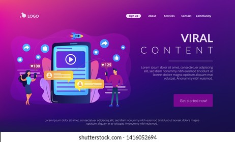 Digital marketing, online advertising, SMM. App notification, chatting, texting. Viral content, internet meme creation, mass shared content concept. Website homepage landing web page template.