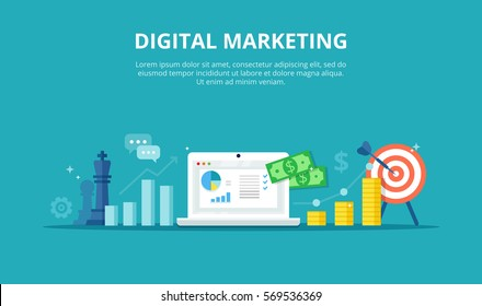 Digital marketing process - banner in flat style. Concept of strategy, successful result and profit growth. Online business vector illustration.