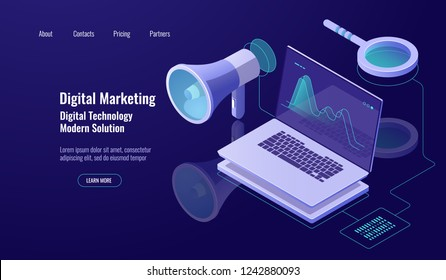 Digital marketing and promotion, online advertising, loudspeaker with laptop and magnifying glass, data researching and processing, dark neon vector