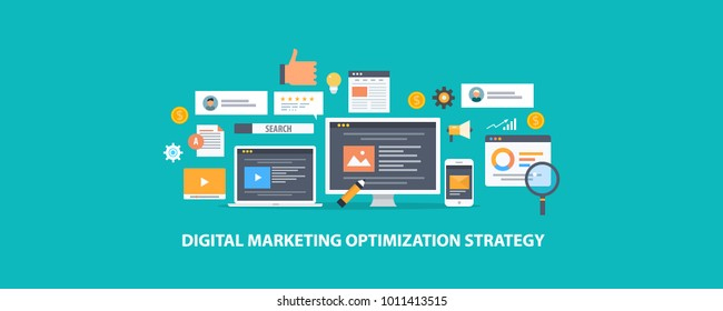 Digital marketing, Search optimization strategy flat style vector concept on green background