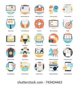 Digital Marketing and Social Media Campaign Icons Set