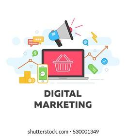 Digital marketing and social media vector flat illustration. Concepts web banner and promo material. Pay click seo social media analysis actions