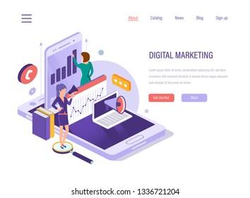 Digital marketing. Social network, media planning, digital social media, online business, financial analysis, seo search, marketing research, business analytics, content strategy. Isometric vector.