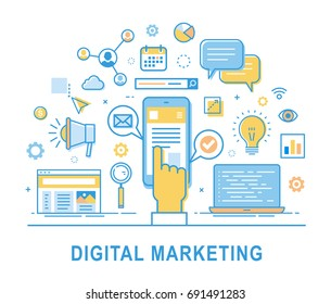 Digital marketing. Social network, media communication, SEO, SEM, promotion. Media planning, online business, purchasing, financial analysis and statistics. Thin line design. Infographics elements.