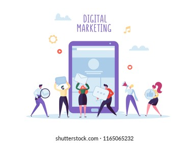 Digital Marketing, Social Network, SEO Concept. Flat Business People Working Together on New Website Project. Team Work. Vector illustration