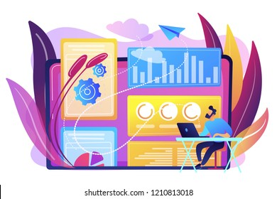 Digital marketing strategist working with digital technologies and media. Attribution modeling, brand insight and measurement tools concept. Bright vibrant violet vector isolated illustration