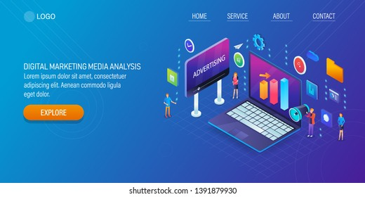 Digital marketing success, Marketing analytics, Business report analysis, flat design isometric vector banner with icons and texts