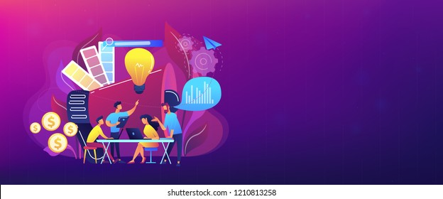 Digital marketing team with laptops and light bulb. Marketing team metrics, marketing team lead and responsibilities concept on white background. Header or footer banner template with copy space.