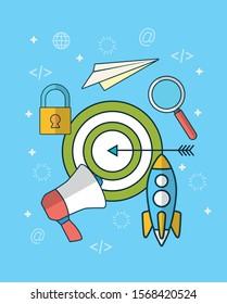 digital marketing technology with target vector illustration design