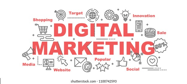 digital marketing vector banner design concept, flat style with icons