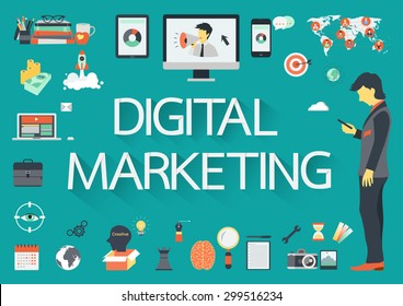 Digital Marketing vector concept with flat icons illustration for presentations and reports