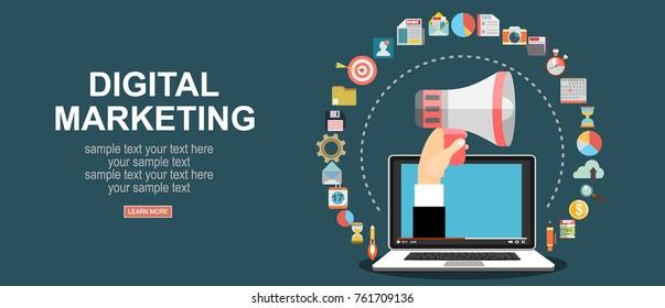 Digital marketing vector concept. Vector flat design illustration.