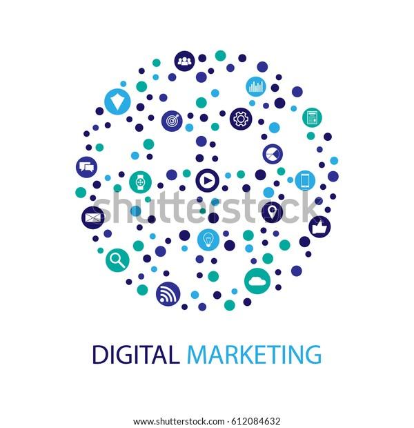 digital marketing vector illustration stock vector royalty free 612084632 https www shutterstock com image vector digital marketing vector illustration 612084632