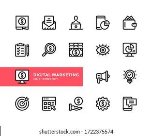 Digital marketing vector line icons. Simple set of outline symbols, graphic design elements. Line icons