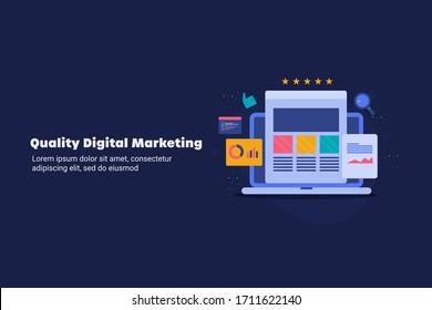Digital marketing, Website marketing, Online business development - conceptual flat design vector illustration with icons