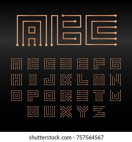 Digital maze vector alphabet, isolated abstract technology font. Microchip ABC logo set. Electronic circuitry letter monogram signs collection.