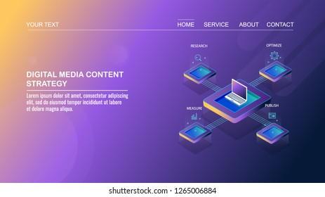 Digital media marketing, content strategy, Digital content network flat design 3D isometric template