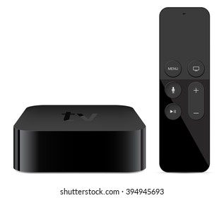 Digital media player device with remote touch controler - vector illustration eps 10.