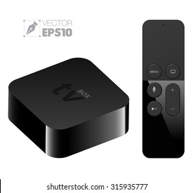 Digital media player setup box with remote apple tv style. Vector illustration. Can use for element on your advertising.