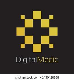 Digital Medical Logo in Gold Color