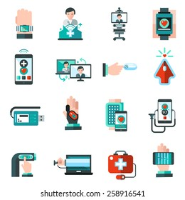 Digital medicine health monitor emergency aid icons set isolated vector illustration