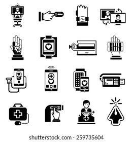 Digital medicine icons black set with telemedicine pocket monitor health control symbols isolated vector illustration