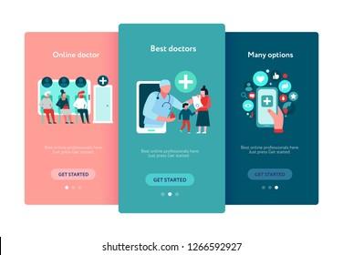Digital medicine set of mobile app screens on color background flat vector illustration
