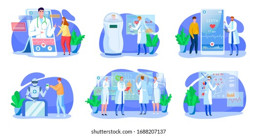 Digital medicine vector illustration set. Cartoon medical healthcare with online app doctor consultation in smartphone, modern medical treatment technology for adult patients people isolated on white