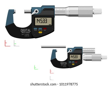 Digital micrometer on transparent background. There are 3 components which are perfect assembly for your own composition.