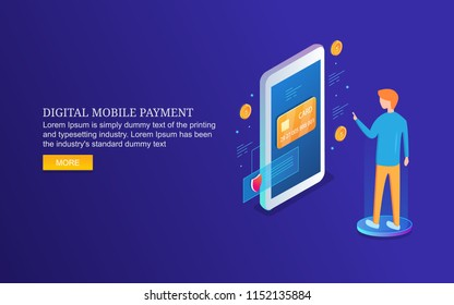 Digital mobile payment, money transfer application, man paying through smart phone 3D isometric banner