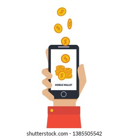 Digital Mobile Wallet, Hand Holding Smartphone, Wireless Money Transfer, People Sending and Receiving Money with Mobile Phone Vector Illustration