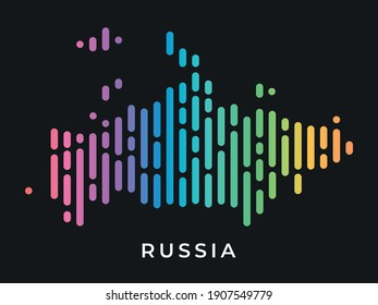 Digital modern colorful rounded lines Russia map logo vector illustration design.