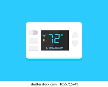 Digital modern thermostat. Flat design vector illustration