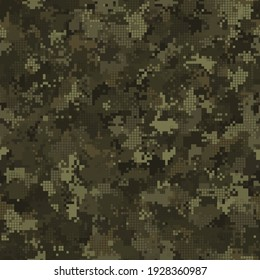 Digital monochrome camouflage seamless pattern for autumn forest. Abstract military geometric modern camo background. Vector illustration.